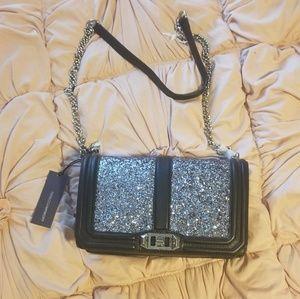 Rebecca Minkoff silver glitter leather crossbody